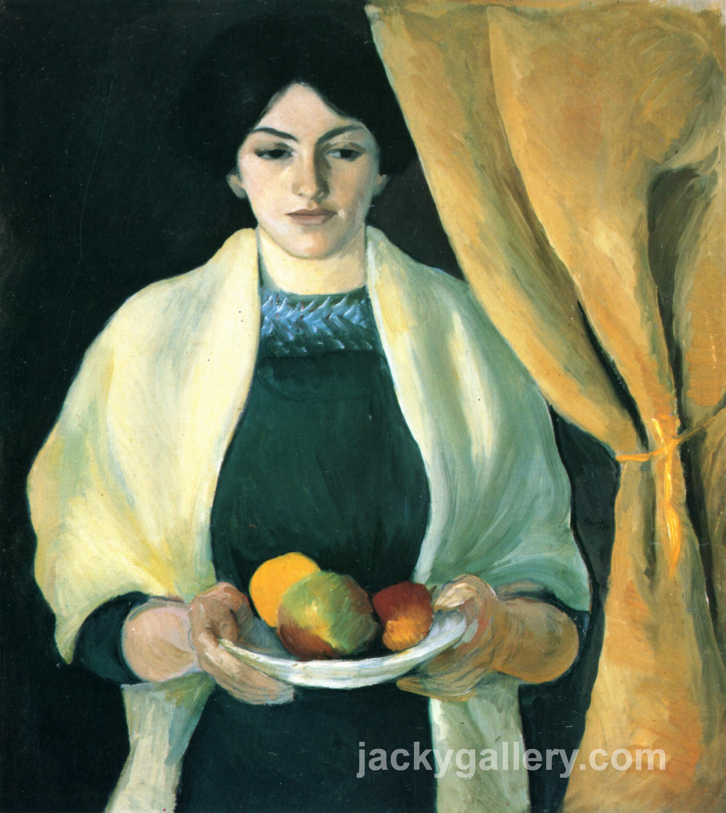 Portrait with apples (Portrait of the Artists Wife), August Macke painting