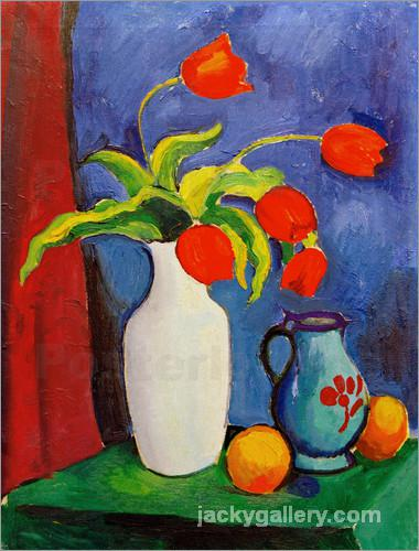 Rote Tulpen in weiber Vase, August Macke painting
