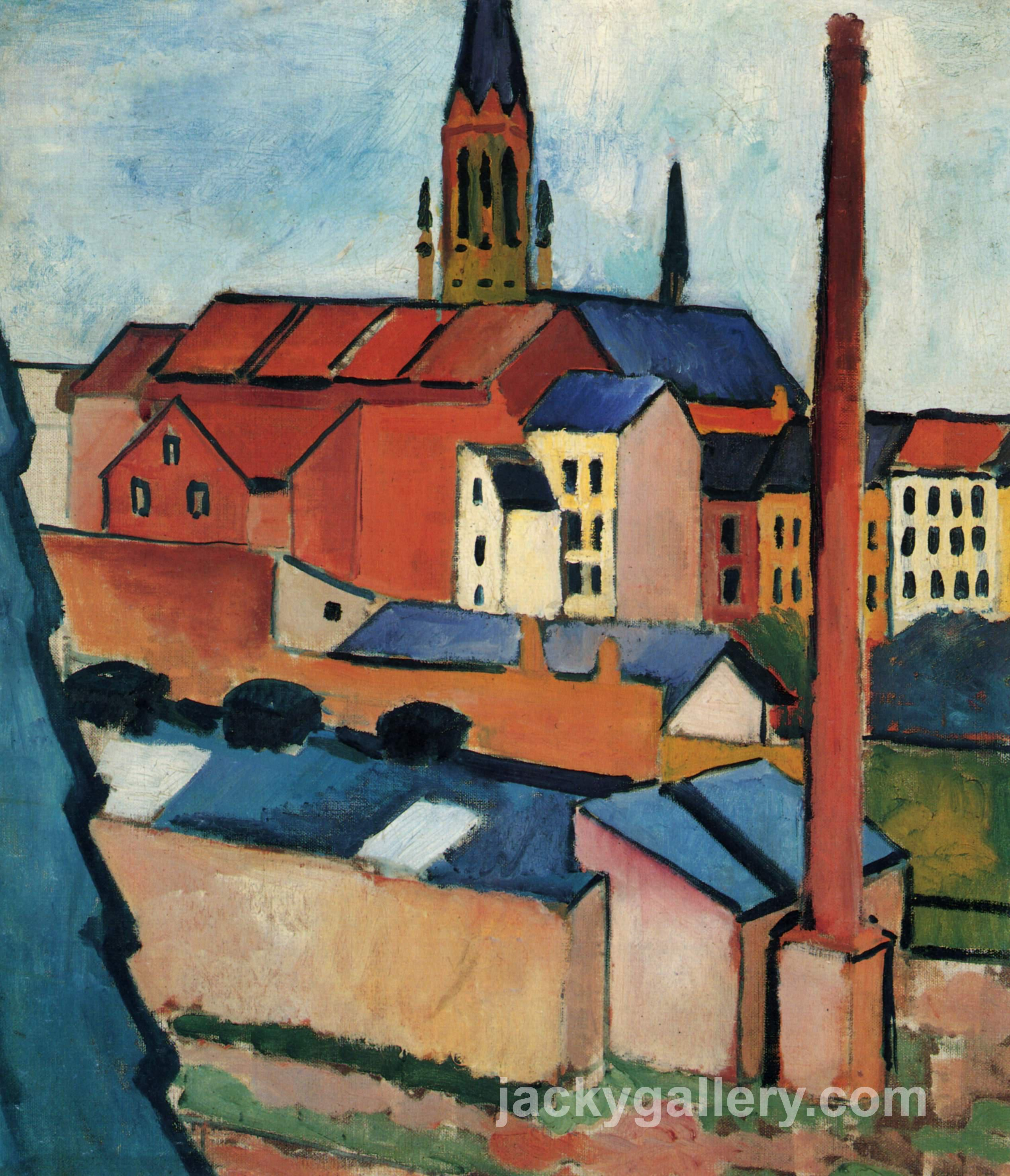 St. Marys with Houses and Chimney (Bonn), August Macke painting
