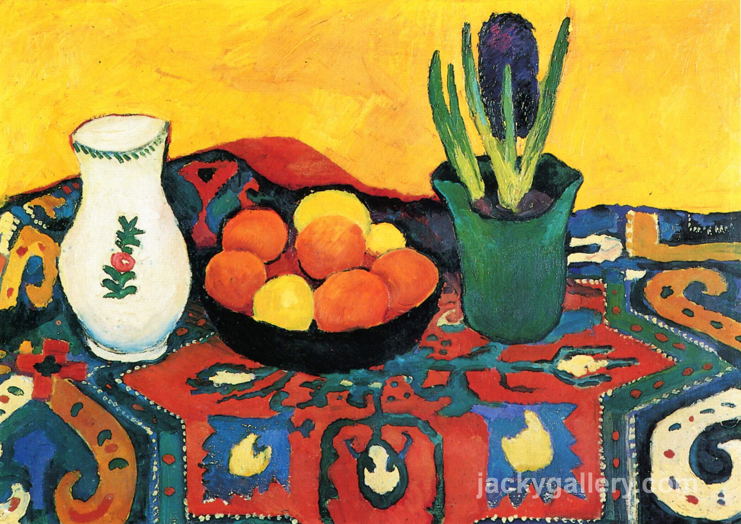 Still life hyacinths carpet, August Macke painting
