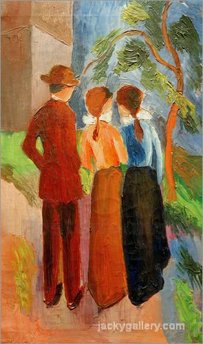 Three taking a walk, August Macke painting