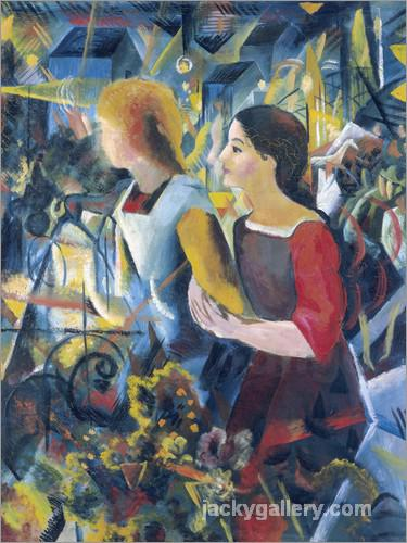 Two girls., August Macke painting