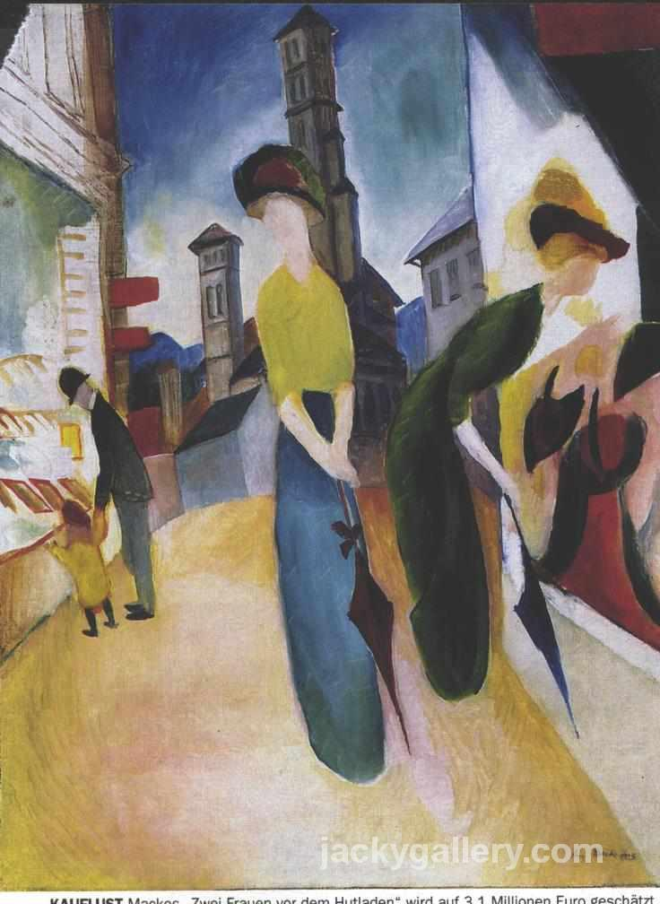 Two women in front of a hat shop, August Macke painting