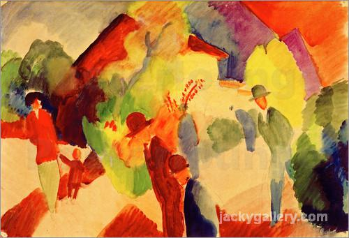 Walkers in the park, August Macke painting