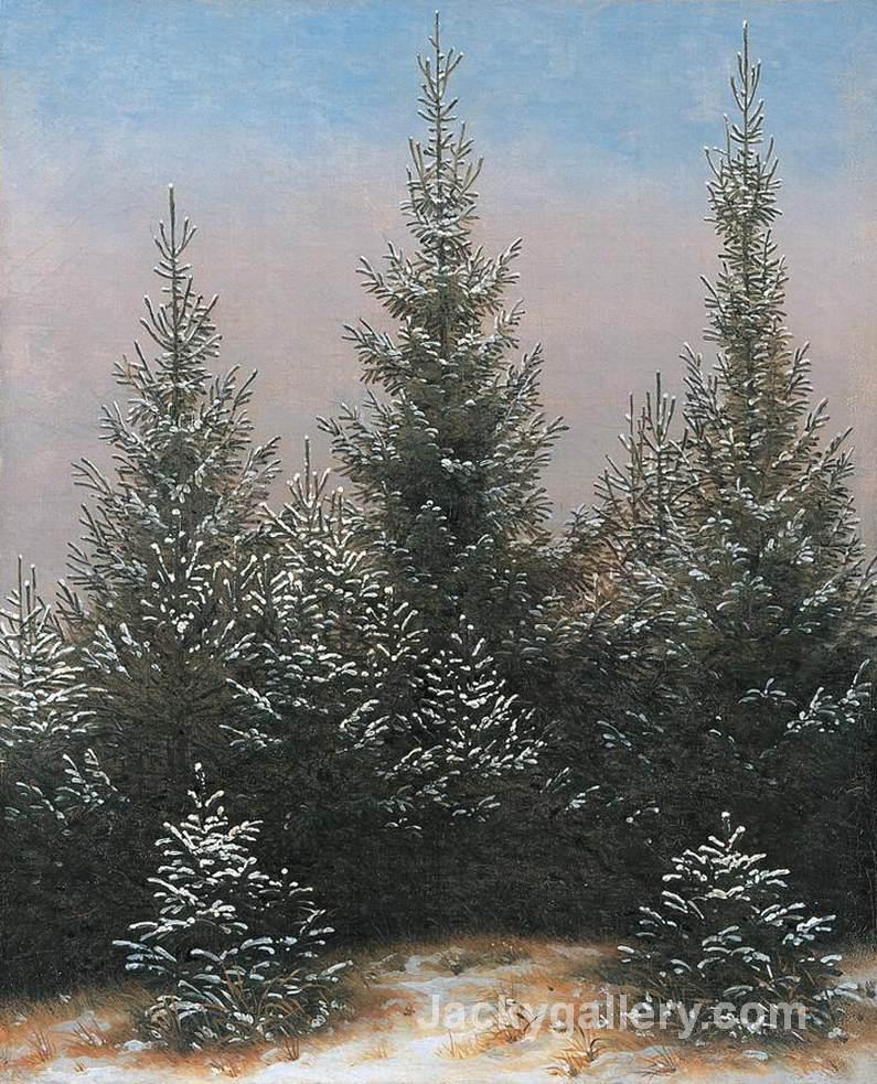 Fir Trees in the Snow by Caspar David Friedrich paintings reproduction
