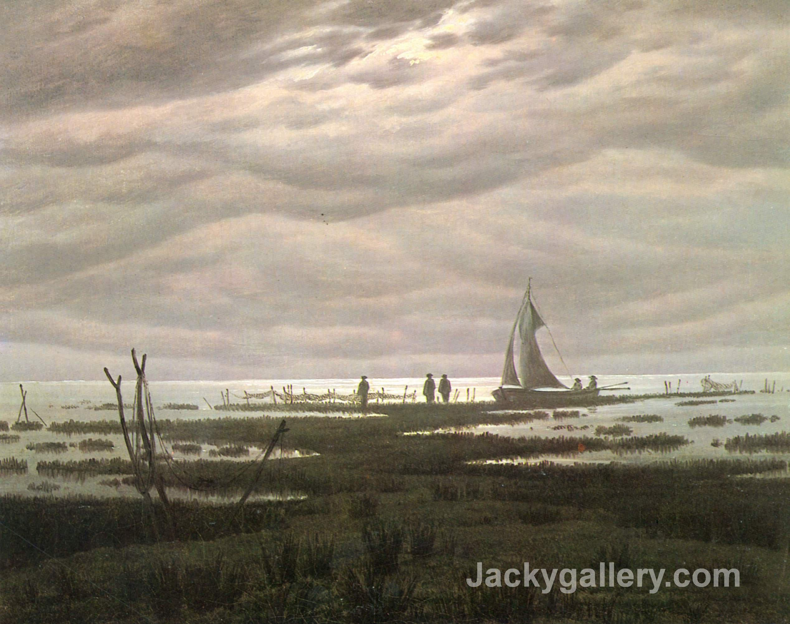 Flat country shank at Bay of Greifswald by Caspar David Friedrich paintings reproduction