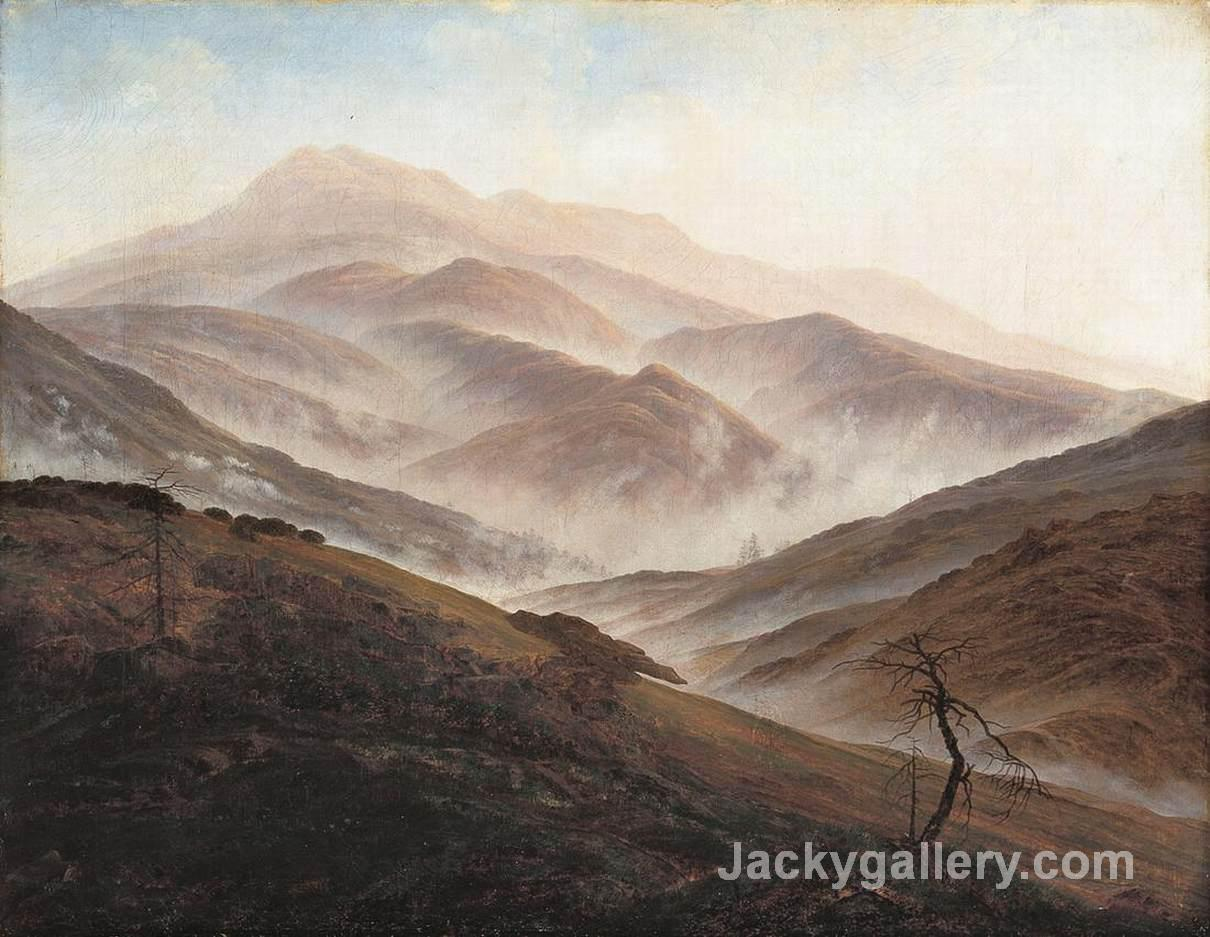 Giant Mountains Landscape with Rising Fog by Caspar David Friedrich paintings reproduction