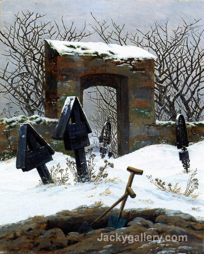 Graveyard under Snow by Caspar David Friedrich paintings reproduction
