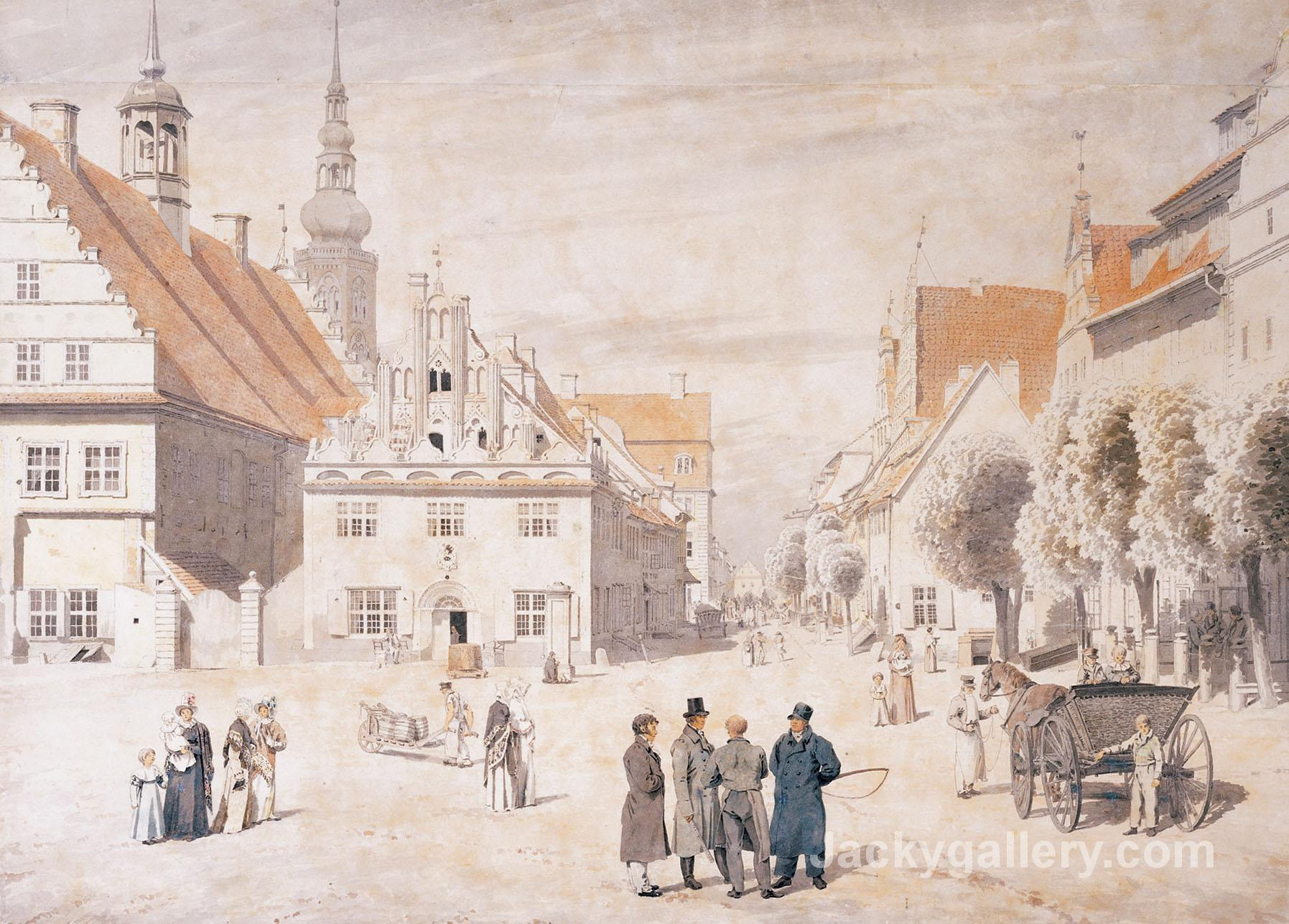 Greifswald market by Caspar David Friedrich paintings reproduction