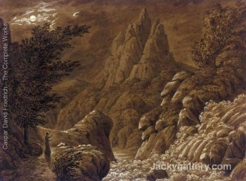 Idealised Landscape with Waterfall by Caspar David Friedrich paintings reproduction