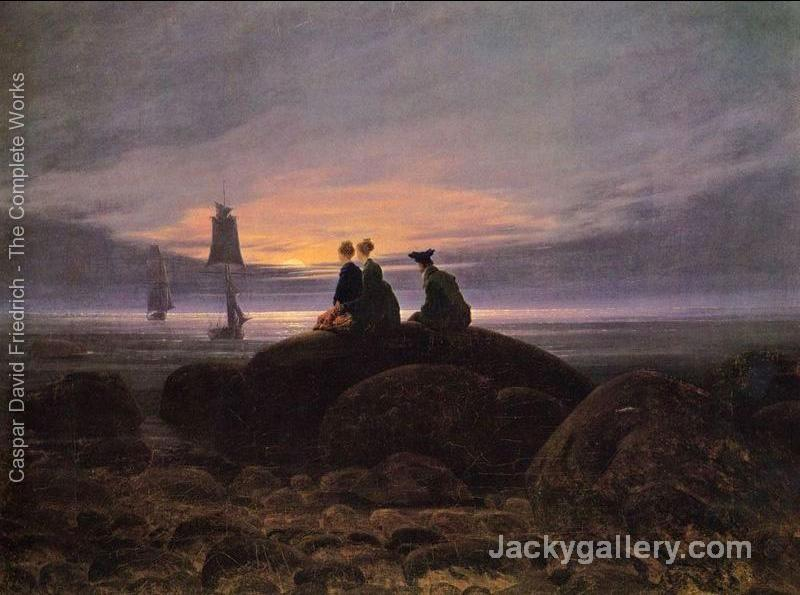 Moonrise over the Sea by Caspar David Friedrich paintings reproduction