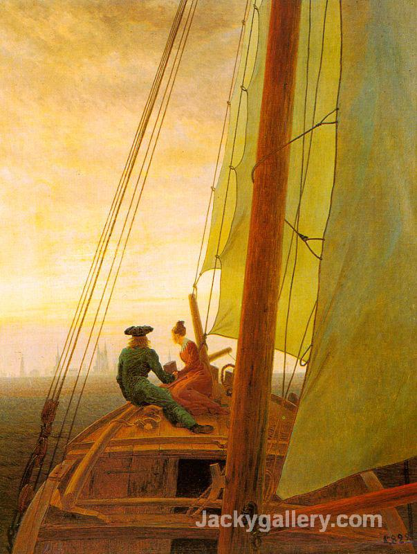 On board of a Sailing Ship by Caspar David Friedrich paintings reproduction