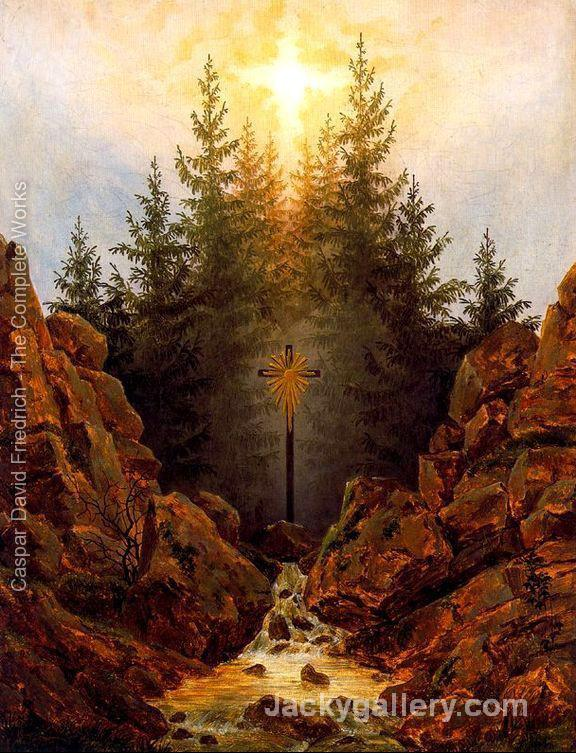 The Cross in the Forest by Caspar David Friedrich paintings reproduction