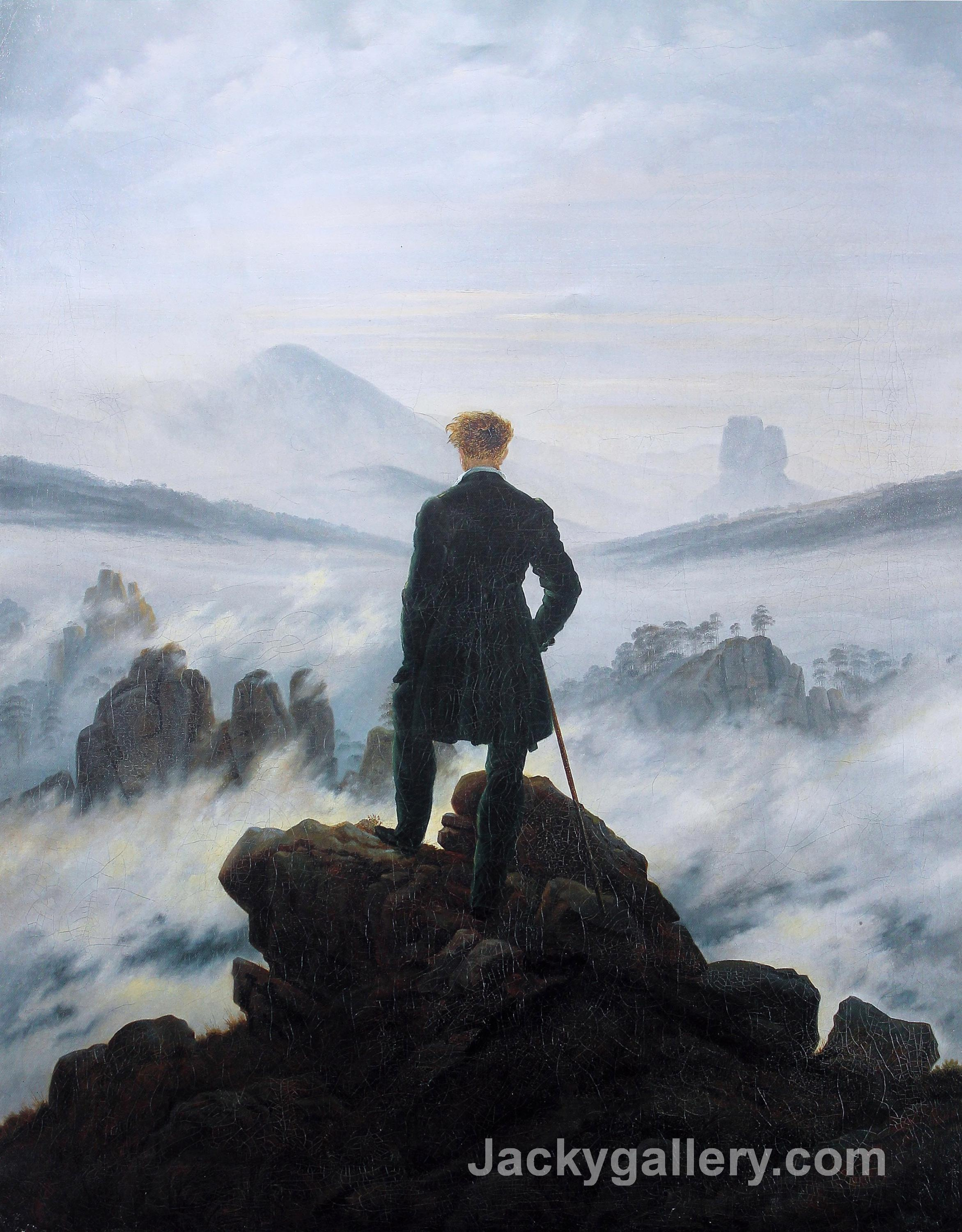 The wanderer above the sea of fog by Caspar David Friedrich paintings reproduction