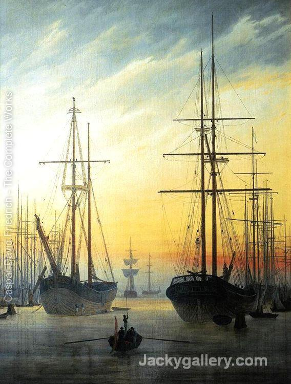 View of a Harbour -16 by Caspar David Friedrich paintings reproduction