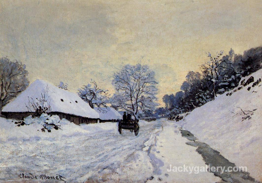 A cart on the snow covered road with saint simeon farm by Claude Monet paintings reproduction