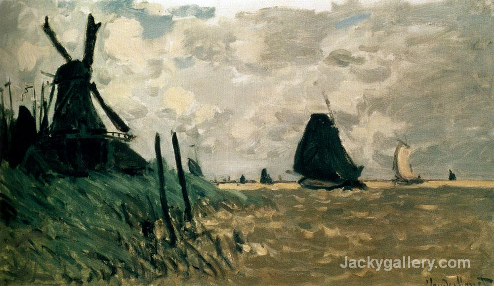 A windmill near zaandam by Claude Monet paintings reproduction
