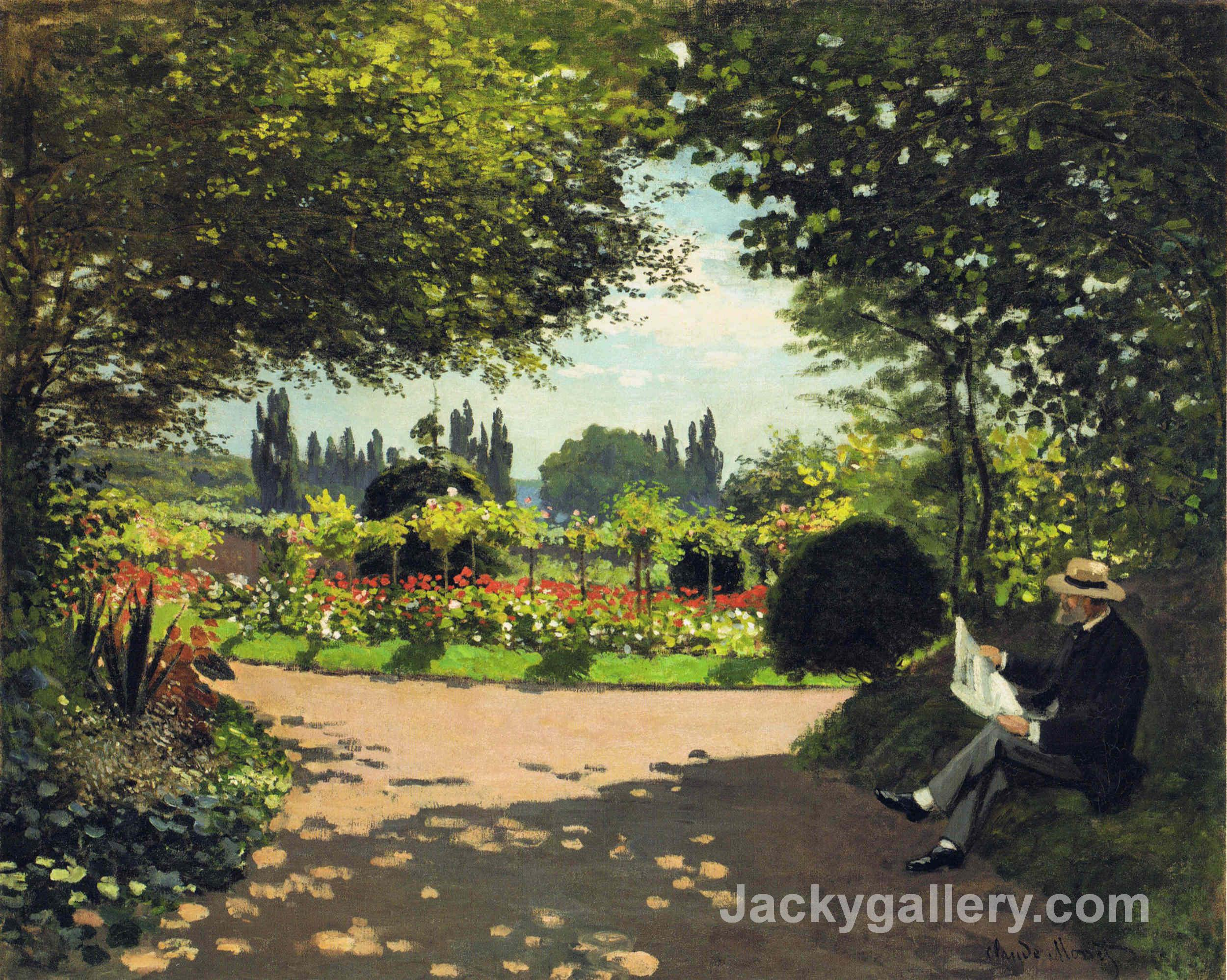 Adolphe Monet Reading in the Garden by Claude Monet paintings reproduction