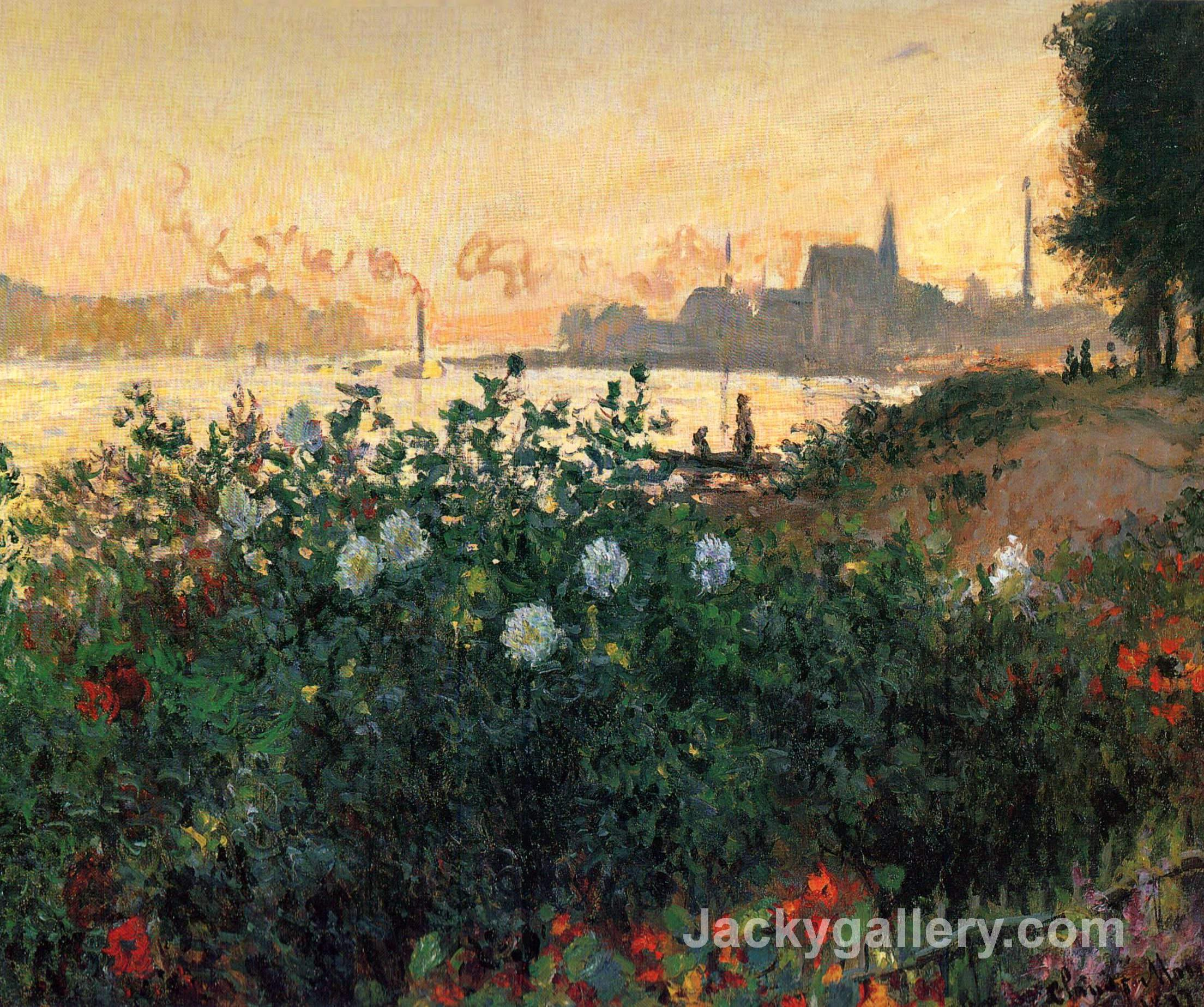 Argenteuil, Flowers by the Riverbank by Claude Monet paintings reproduction