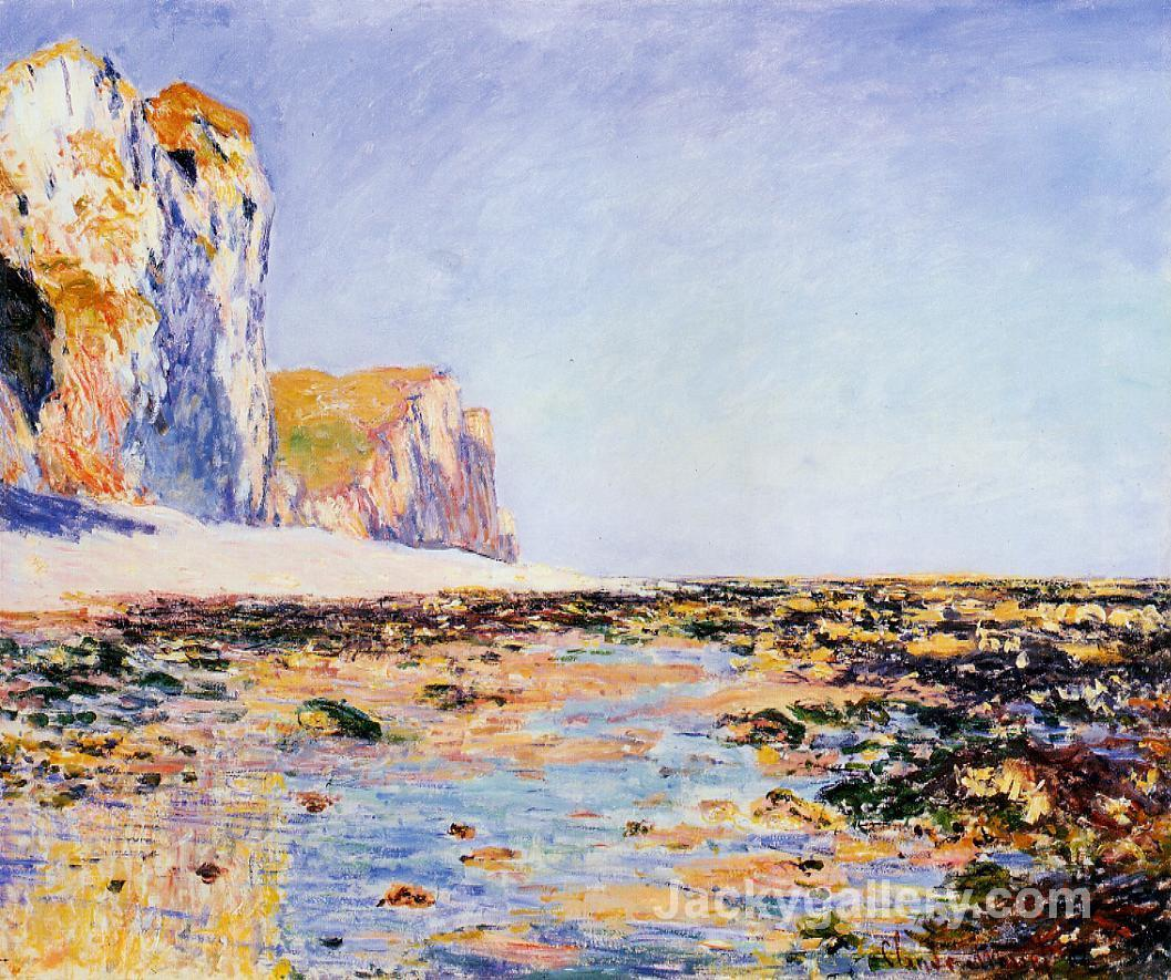 Beach and Cliffs at Pourville, Morning Effect by Claude Monet paintings reproduction