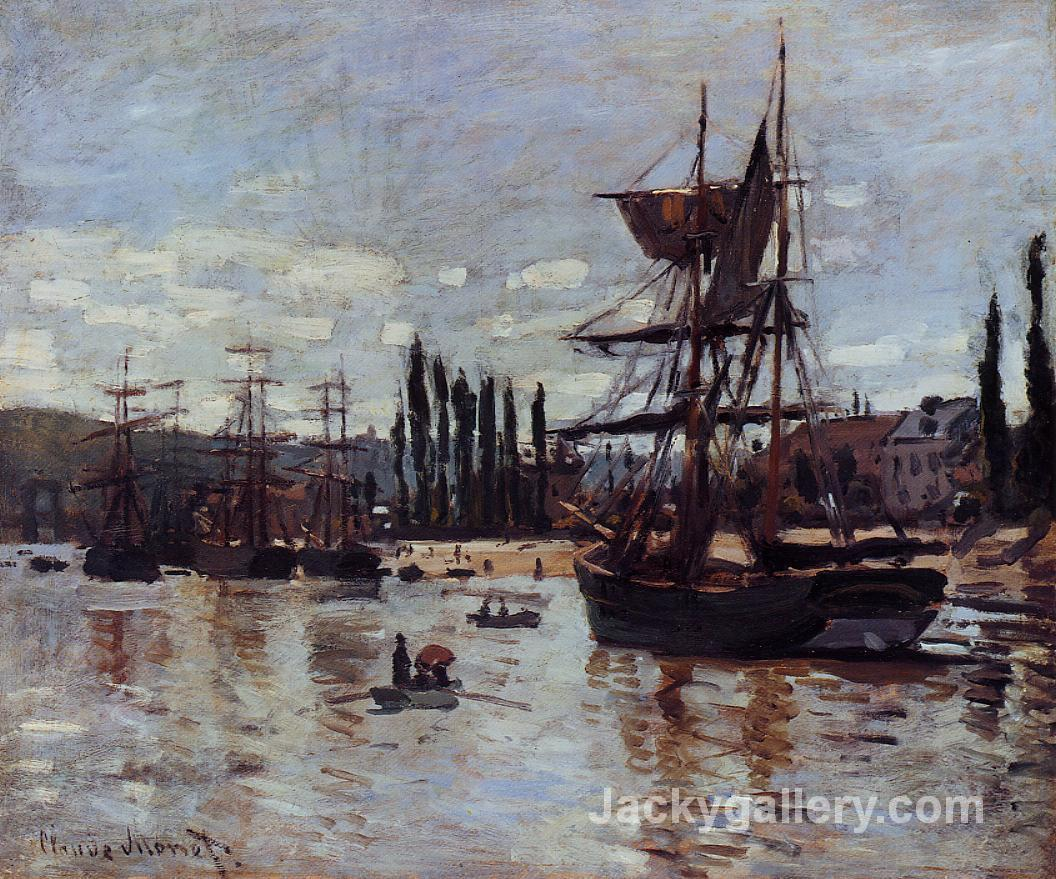 Boats at Rouen by Claude Monet paintings reproduction