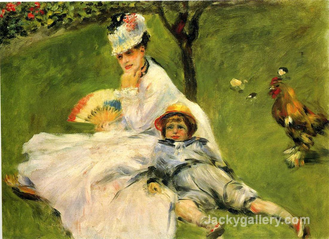 Camille Monet and Her Son Jean in the Garden at Argenteuil by Claude Monet paintings reproduction