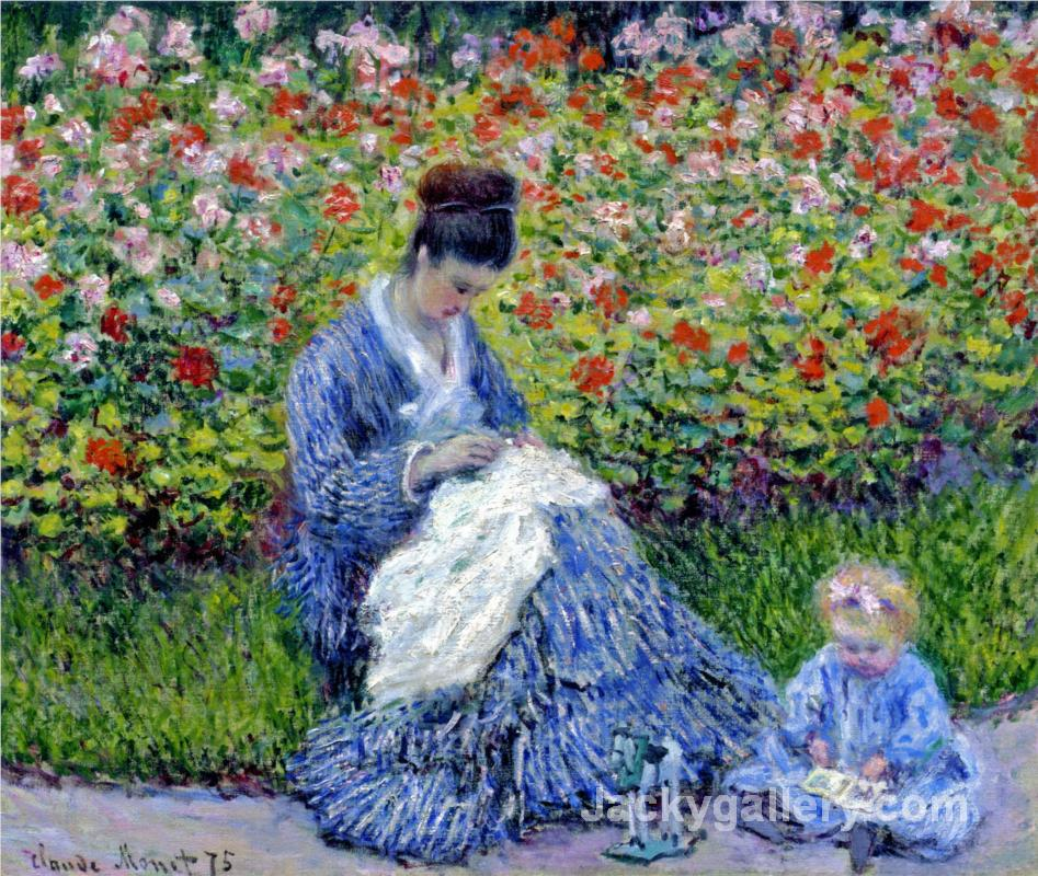 Camille Monet and a Child in the Artists Garden in Argenteuil by Claude Monet paintings reproduction