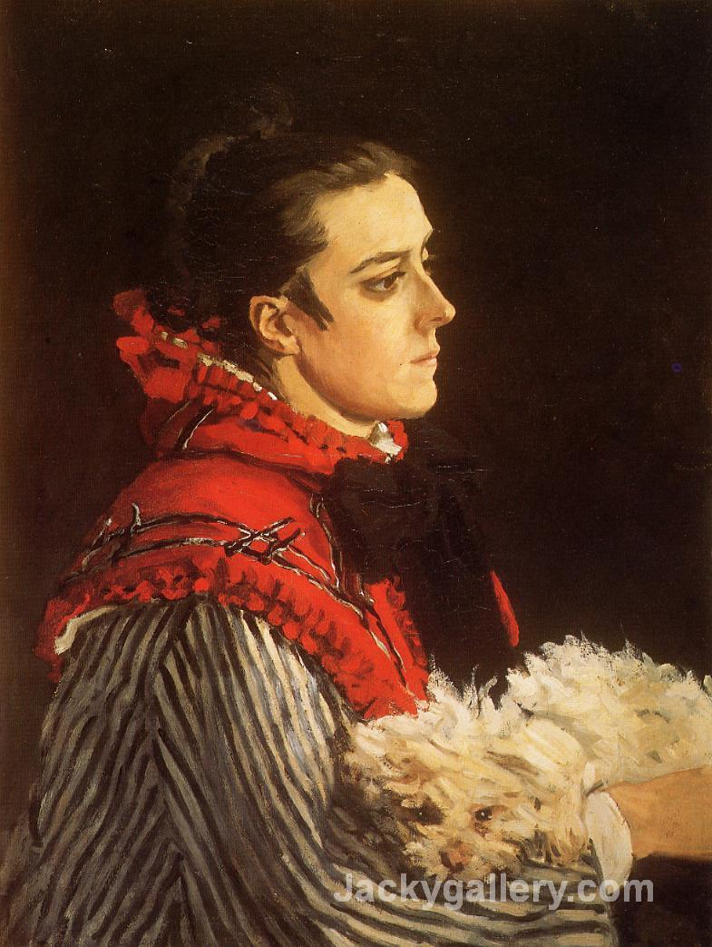 Camille with a Small Dog by Claude Monet paintings reproduction