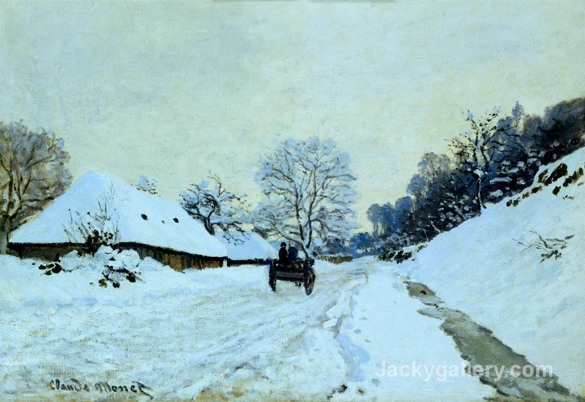 Cart on the Snow Covered Road with Saint-Simeon Farm by Claude Monet paintings reproduction