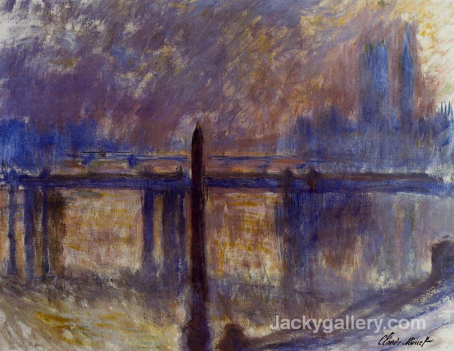Charing Cross Bridge and Cleopatras Needle by Claude Monet paintings reproduction