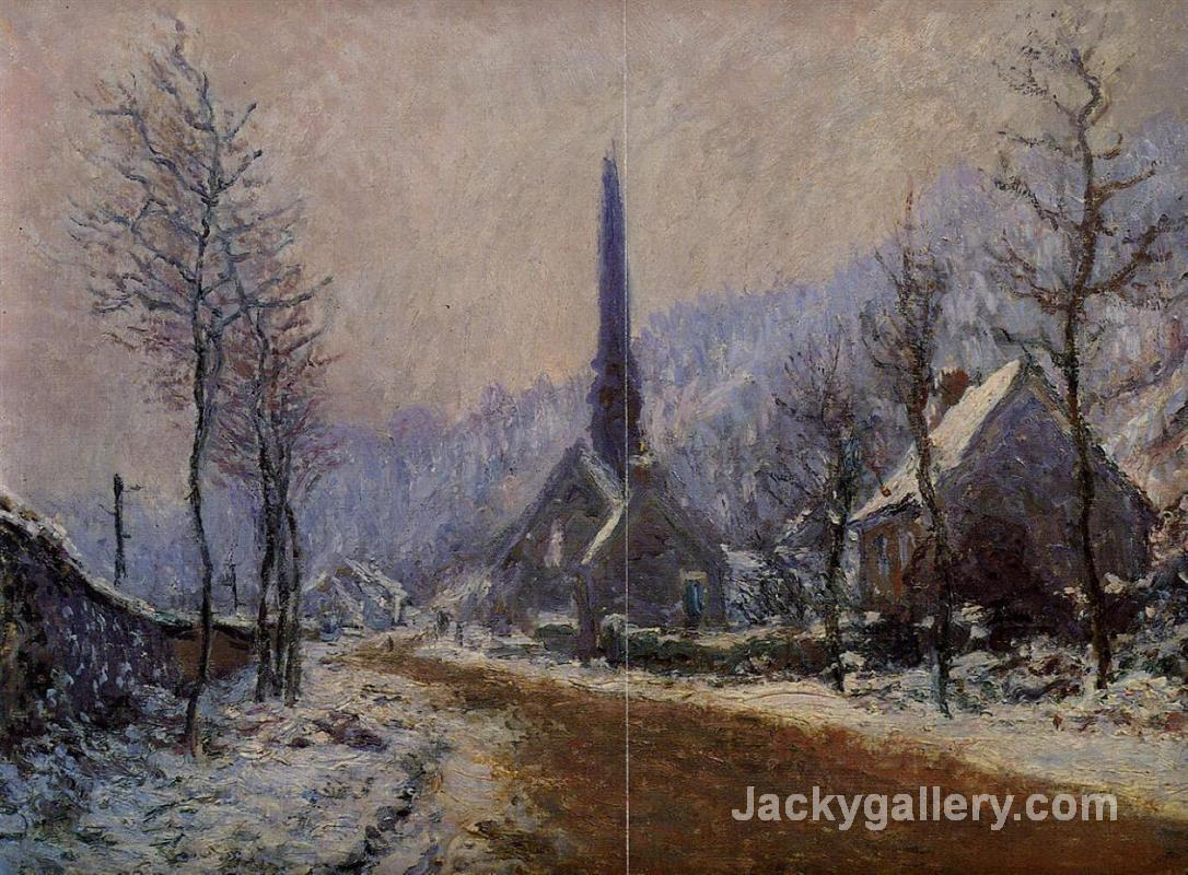 Church at Jeufosse, Snowy Weather by Claude Monet paintings reproduction