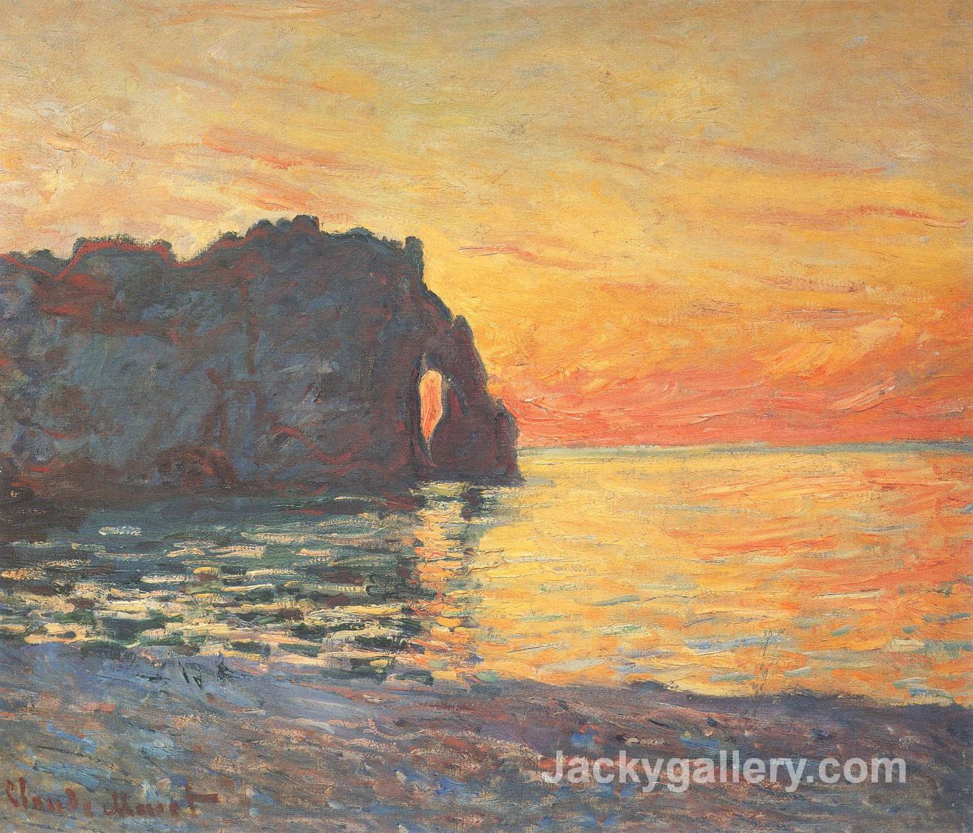 Etretat, Cliff of d Aval, Sunset by Claude Monet paintings reproduction
