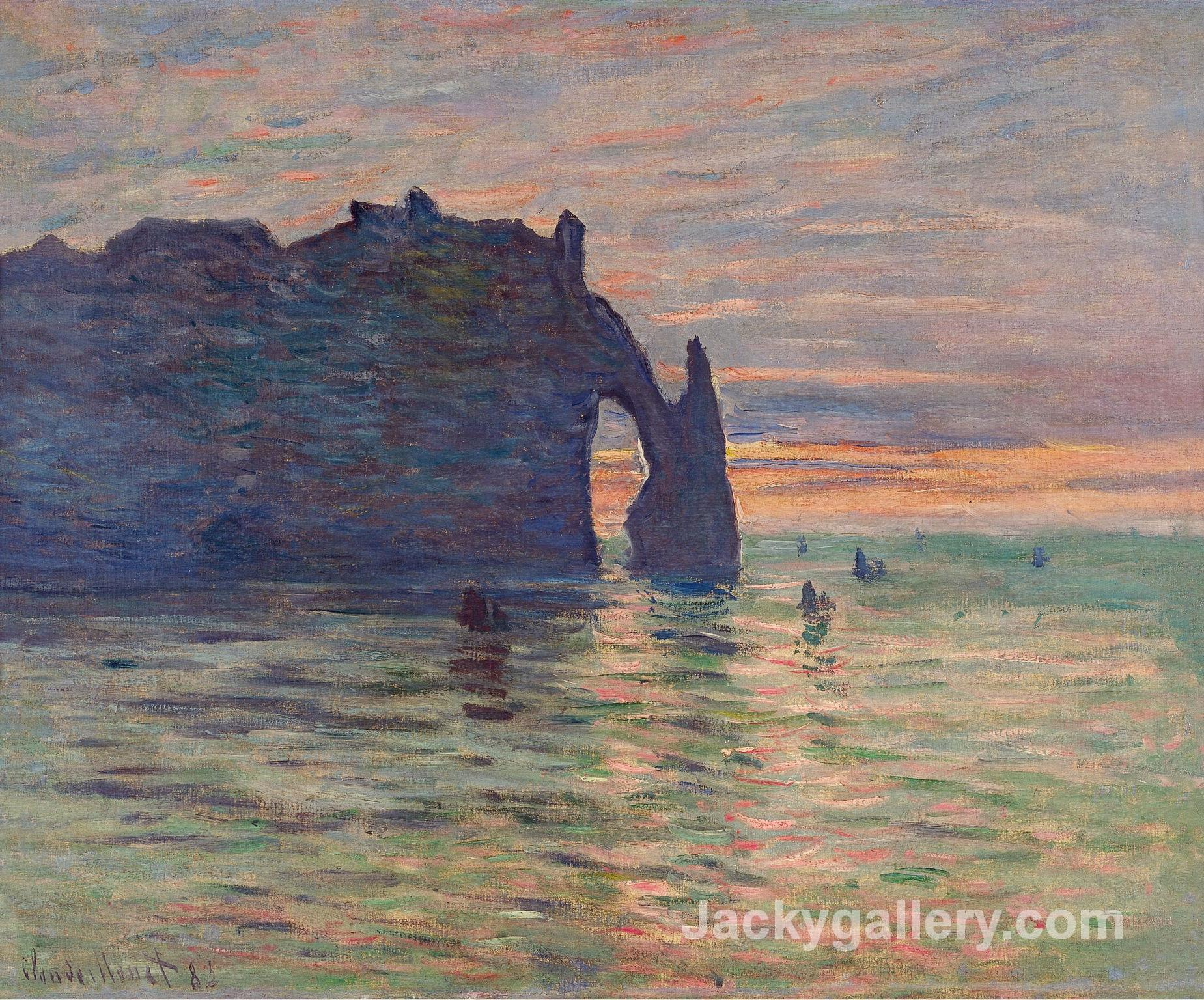 Etretat, Sunset by Claude Monet paintings reproduction