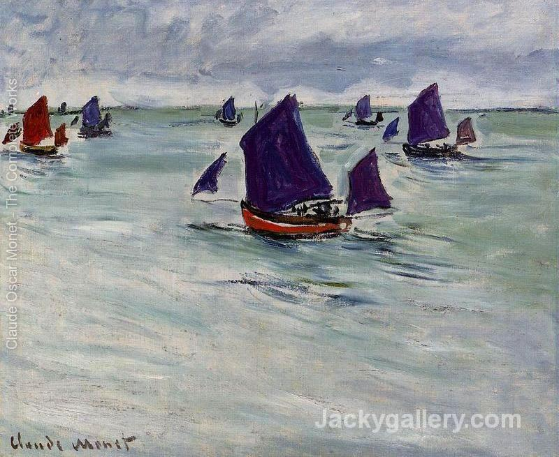 Fishing Boats Off Pourville by Claude Monet paintings reproduction