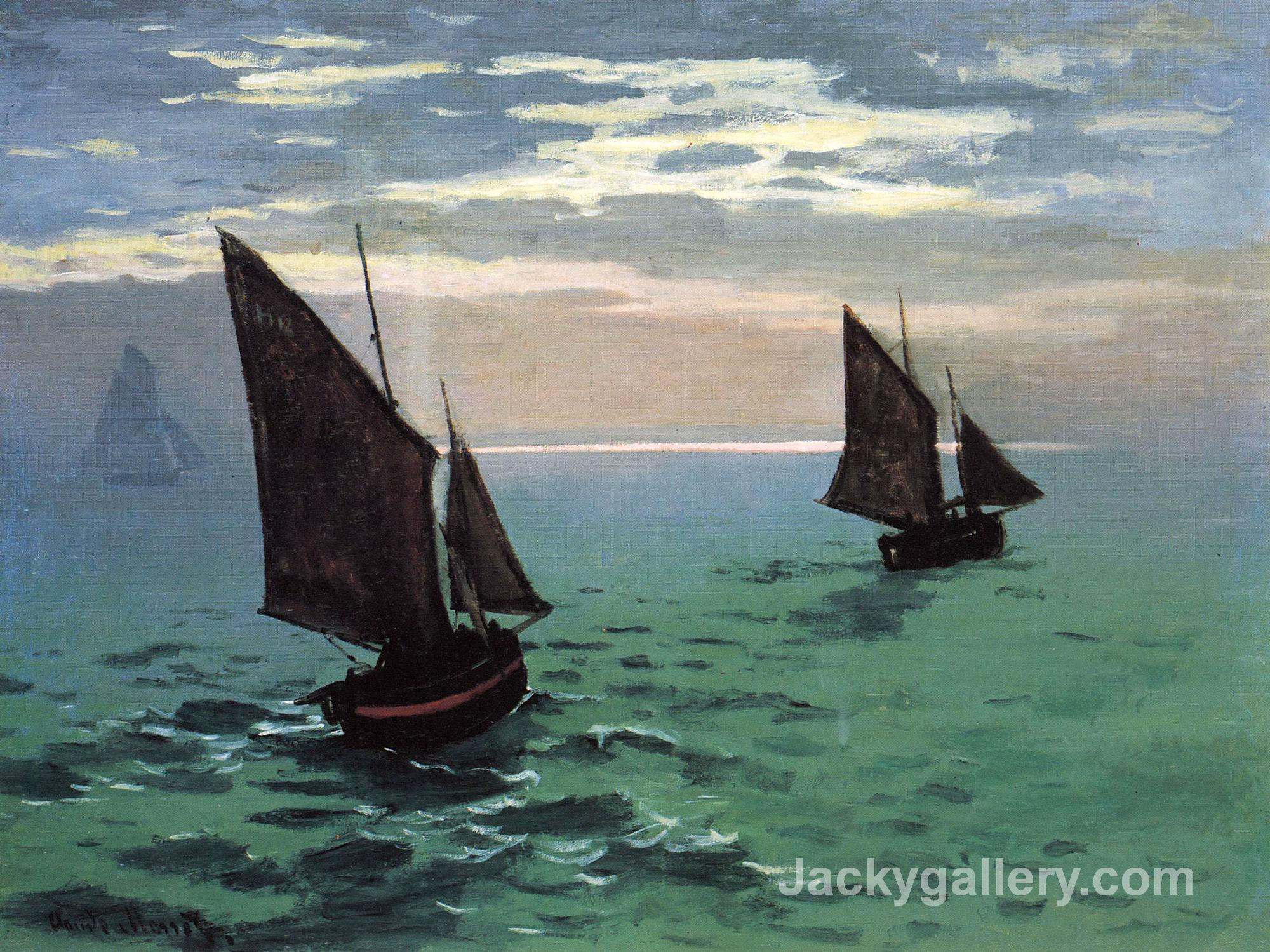 Fishing Boats at Sea by Claude Monet paintings reproduction