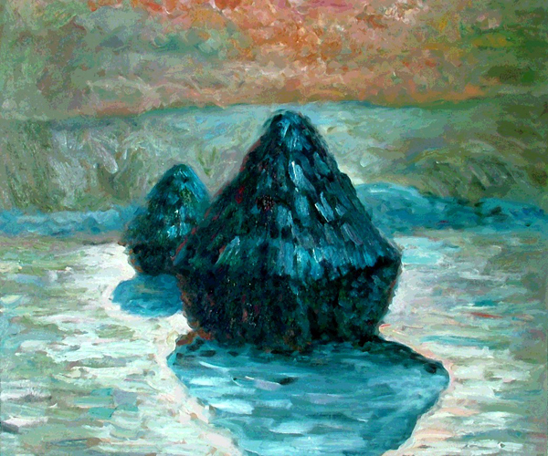 Grain Stack, Snow Effect (Morning) by Claude Monet
