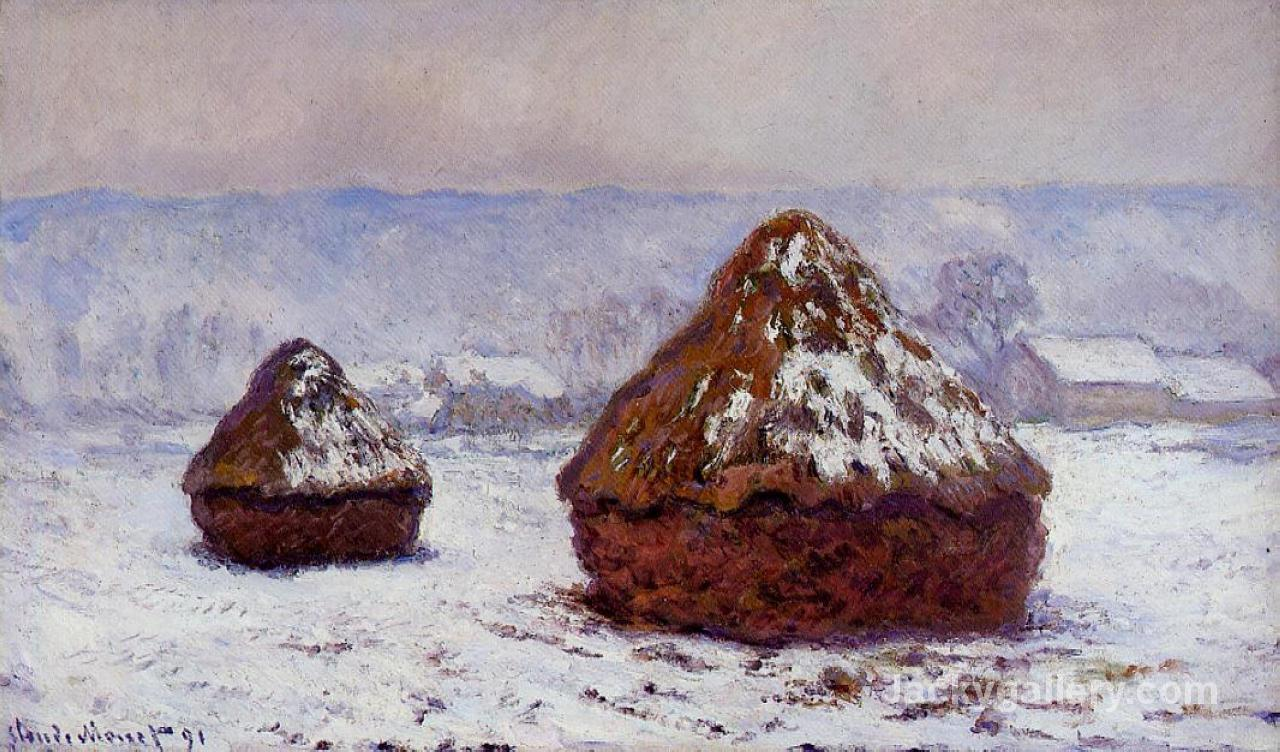 Grainstacks, Snow Effect- by Claude Monet paintings reproduction