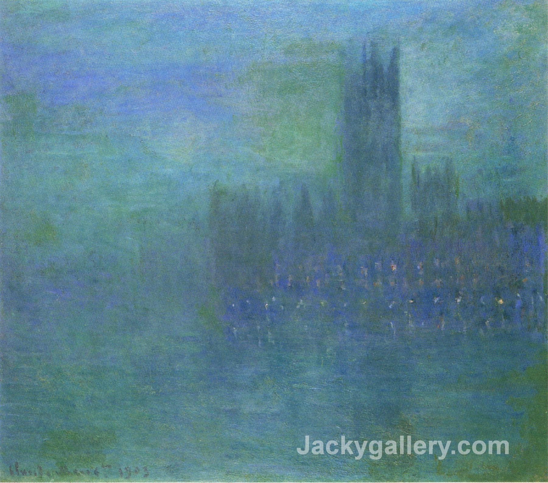 Houses of Parlilament, Fog Effect by Claude Monet paintings reproduction