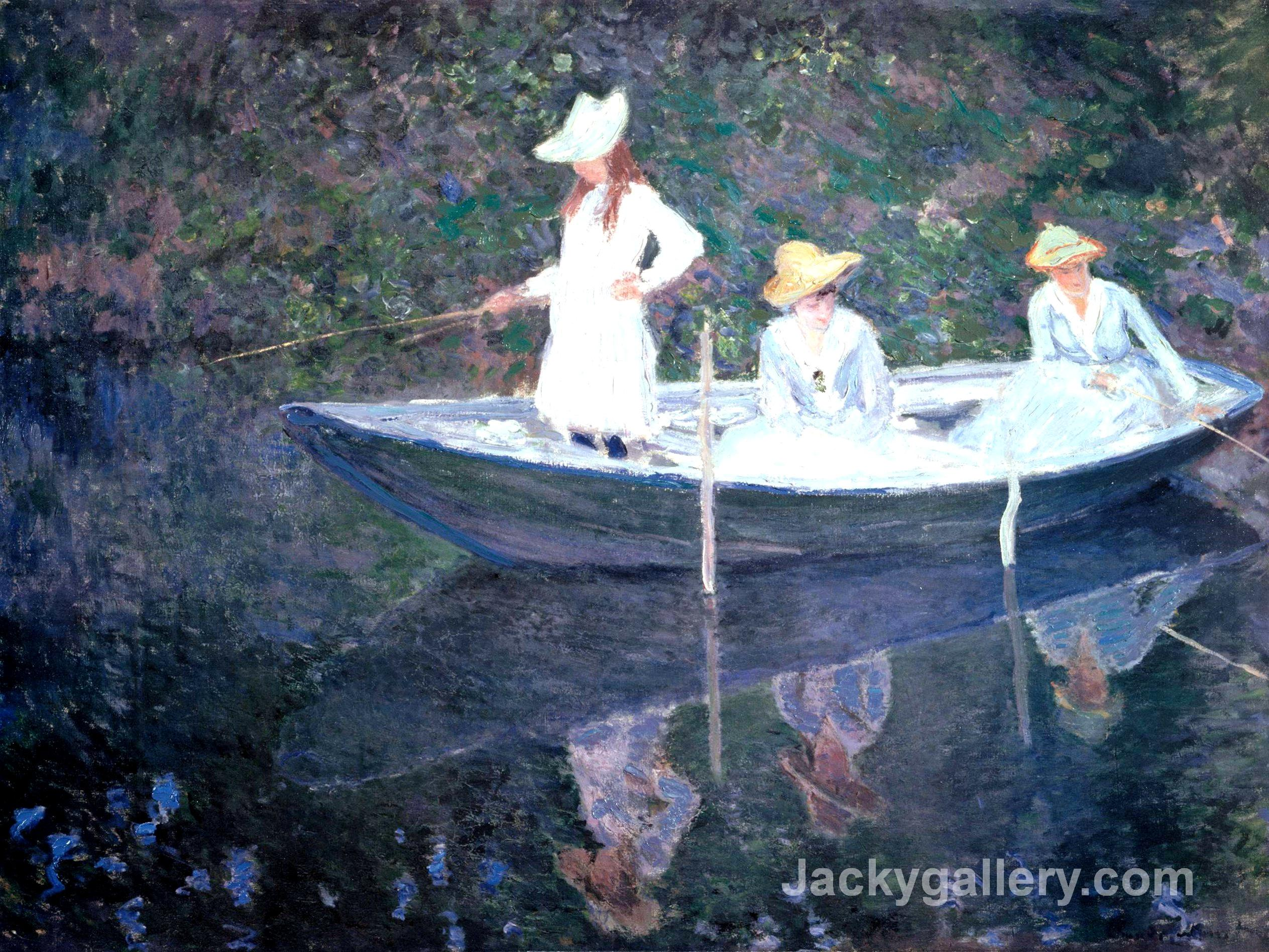 In the Norvegienne Boat at Giverny by Claude Monet paintings reproduction