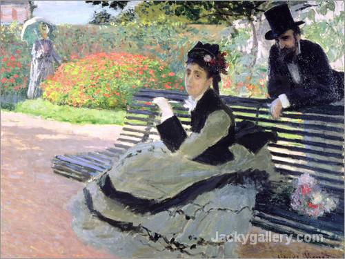 Madame Monet on a Garden Bench by Claude Monet paintings reproduction