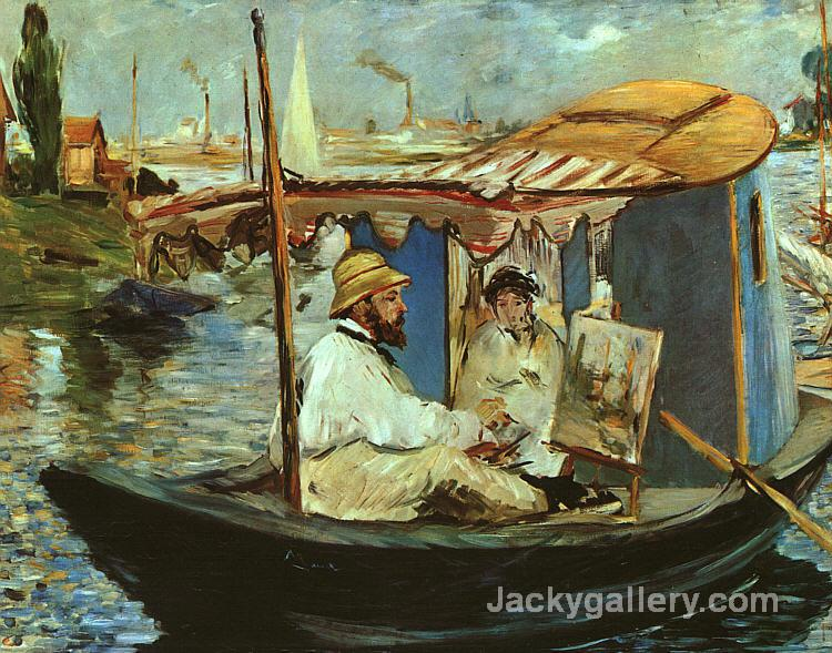 Monet in his Studio Boat by Claude Monet paintings reproduction