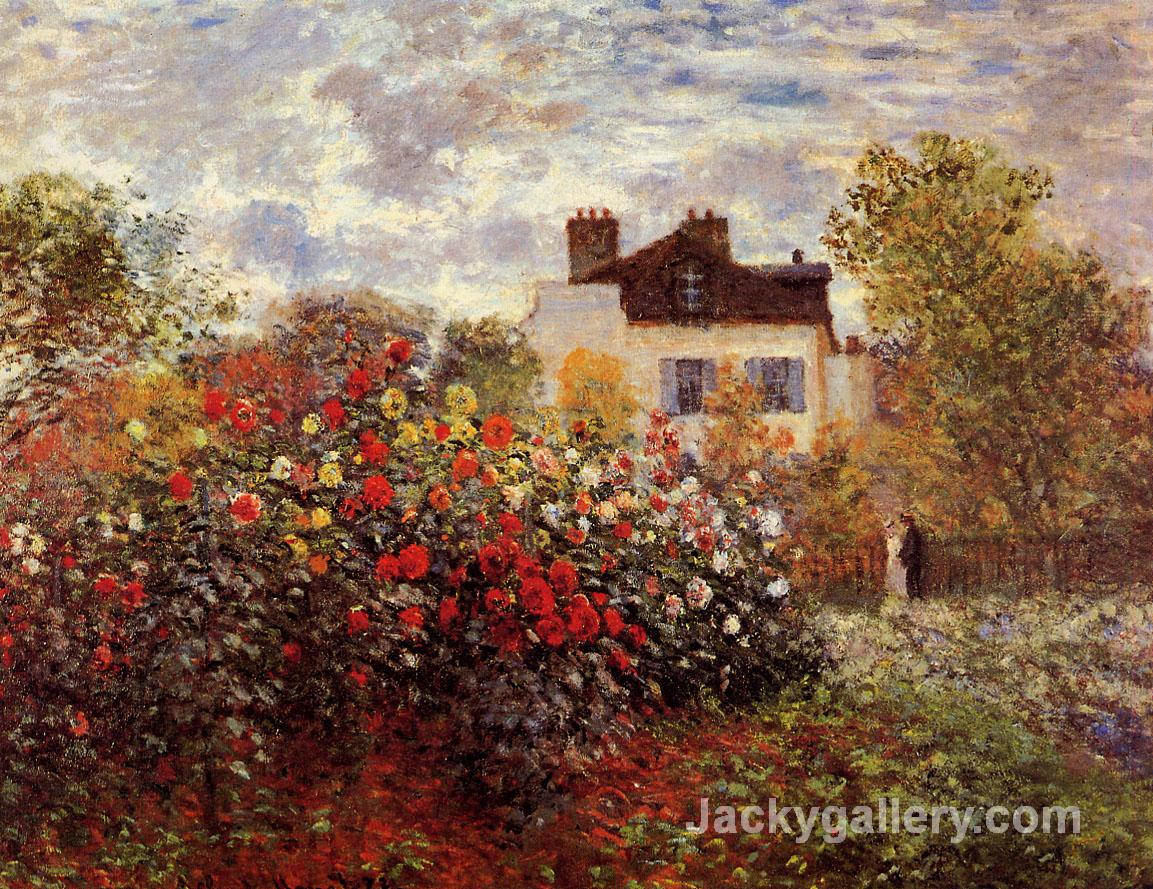 Monets garden in Argenteuil Sun by Claude Monet paintings reproduction