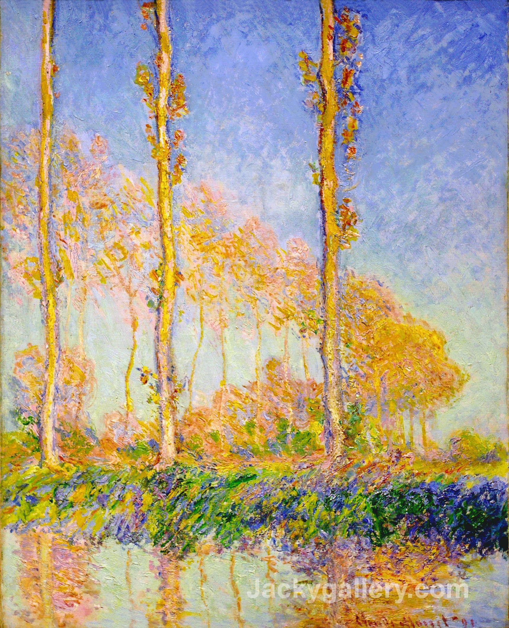 Poplars, Autumn, Pink Effect by Claude Monet paintings reproduction