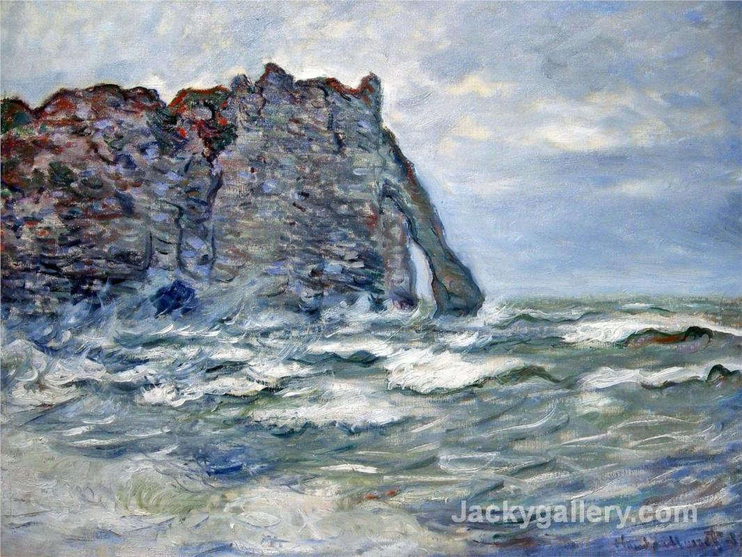 Port d Aval, Rough Sea by Claude Monet paintings reproduction