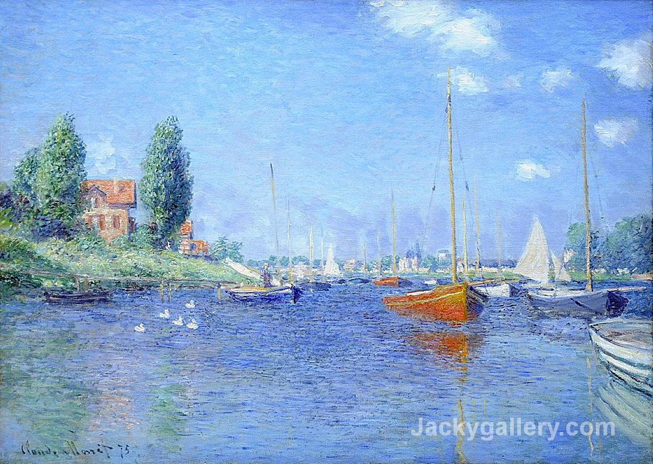 Red Boats, Argenteuil (oil on canvas) by Claude Monet paintings reproduction