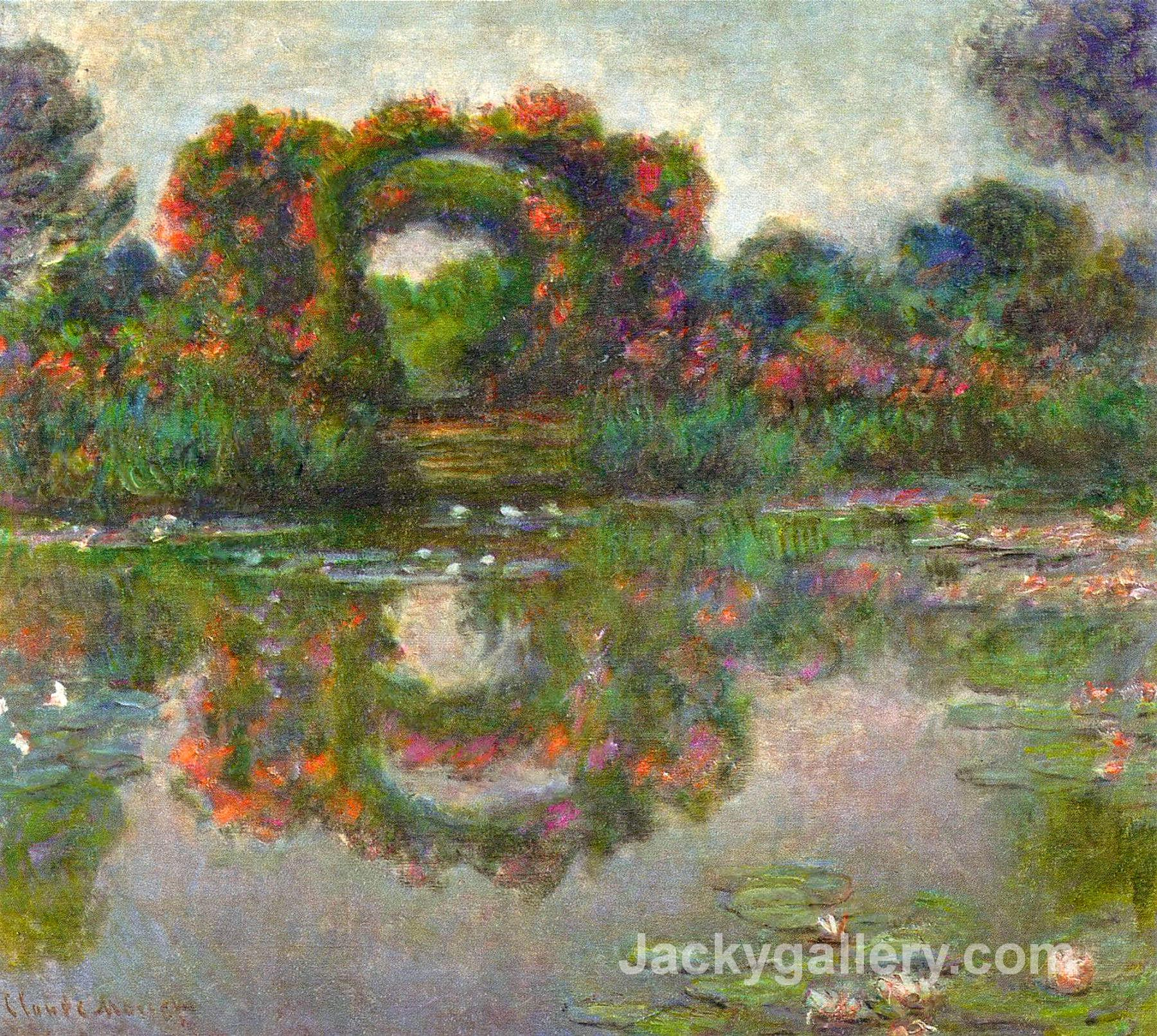 Rose Flowered Arches at Giverny by Claude Monet paintings reproduction