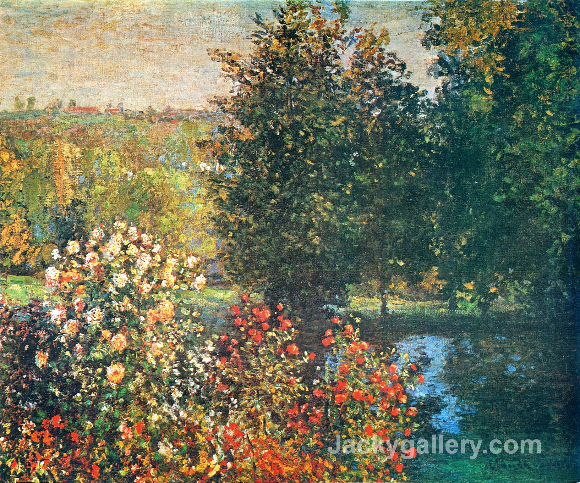 Roses in the Hoshedes Garden at Montregon by Claude Monet paintings reproduction
