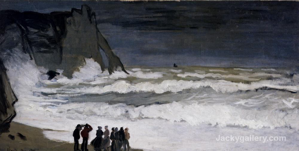Rough Sea at Etretat- by Claude Monet paintings reproduction