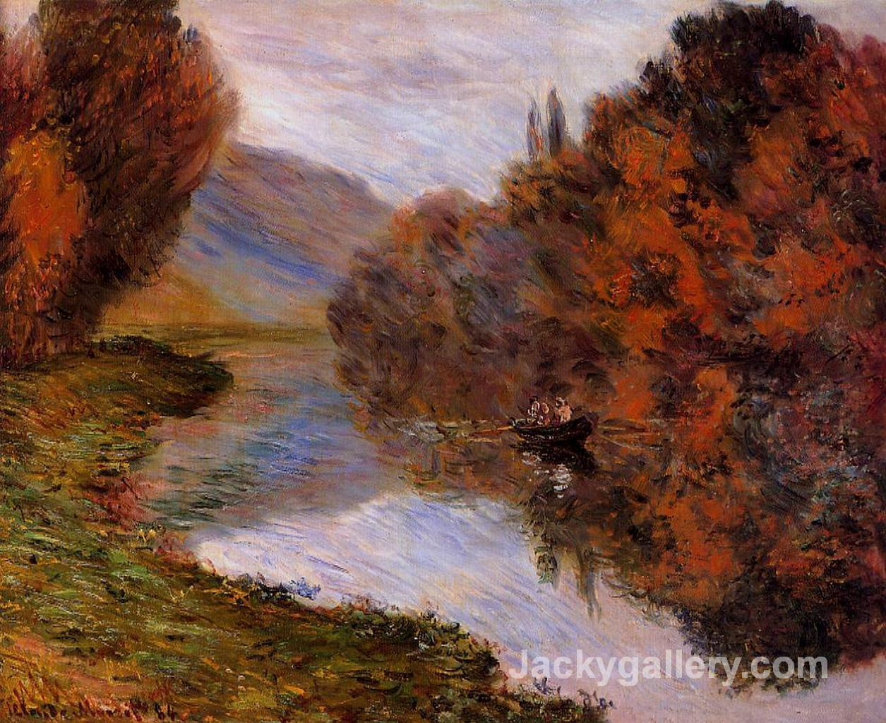Rowboat on the Seine at Jeufosse by Claude Monet paintings reproduction
