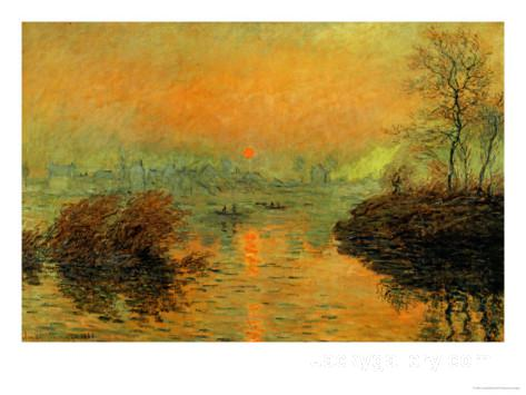 Setting Sun on the Seine at Lavacourt, Effect of Winter by Claude Monet paintings reproduction